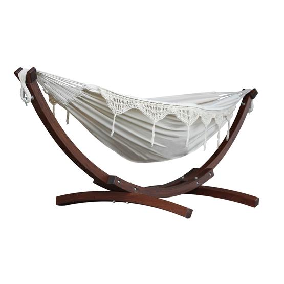 Vivere - Cotton Hammock With Solid Pine Stand (260 Cm) - Hängmatta Dubbel - Natural