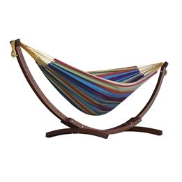Vivere - Cotton Hammock With Solid Pine Stand (260 Cm) - Hängmatta Dubbel - Tropical