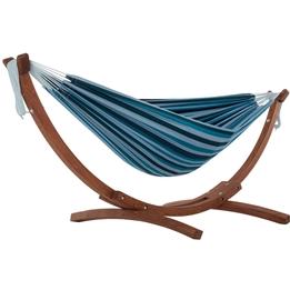 Vivere - Cotton Hammock With Solid Pine Stand (260 Cm) - Hängmatta Dubbel - Blue Lagoon