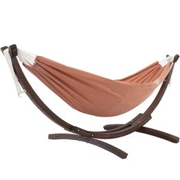 Vivere - Sunbrella Hammock With Solid Pine Stand (260 Cm) - Hängmatta Dubbel - Coral