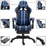Gamingstol Med Fotstöd Blå Konstläder