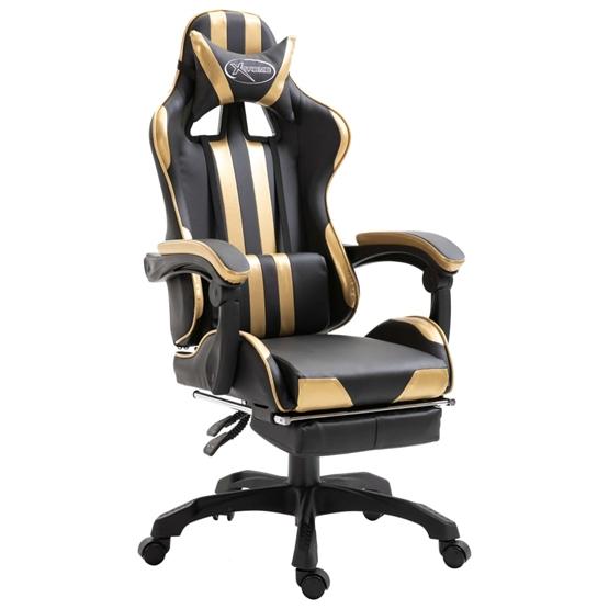 Gamingstol Med Fotstöd Guld Konstläder