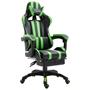Gamingstol Med Fotstöd Grön Konstläder