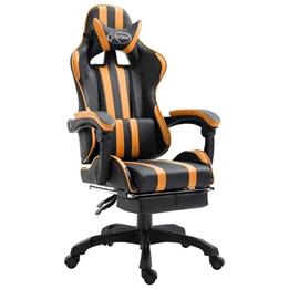 Gamingstol Med Fotstöd Orange Konstläder