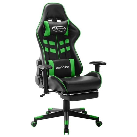 Gamingstol Med Fotstöd Svart Och Grön Konstläder