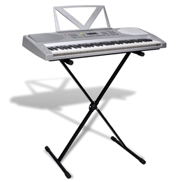 Elektroniskt Keyboard Med Notställ, 61 Tangenter, Justerbart Stativ