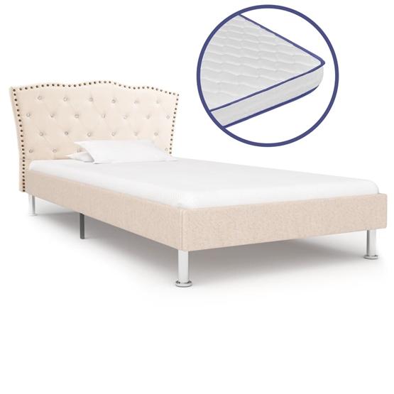 Säng Med Memoryskummadrass Beige Tyg 90X200 Cm