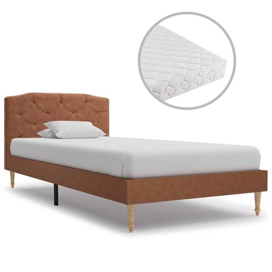 Säng Med Madrass Brun Tyg