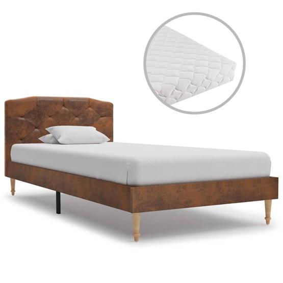 Säng Med Madrass Brun Konstmocka