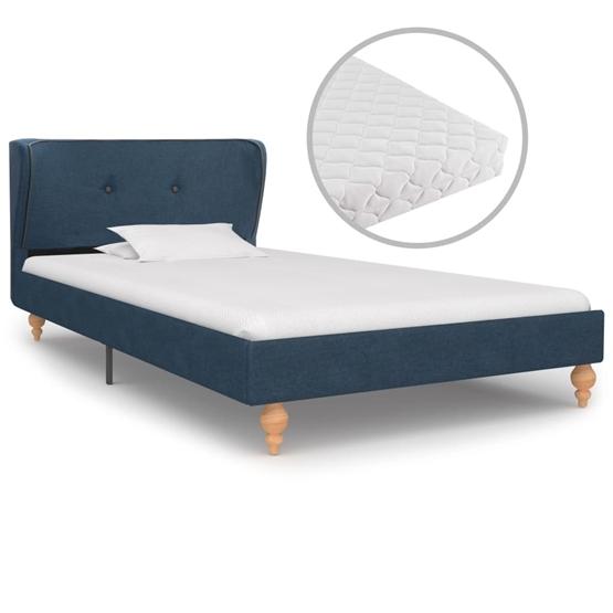 Säng Med Madrass Blå Tyg