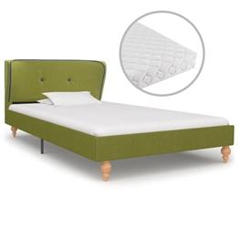 Säng Med Madrass Grön Tyg