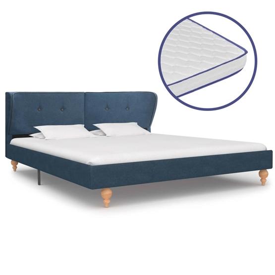 Säng Med Memoryskummadrass Blå Tyg