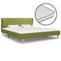 Säng Med Memoryskummadrass Grön Tyg