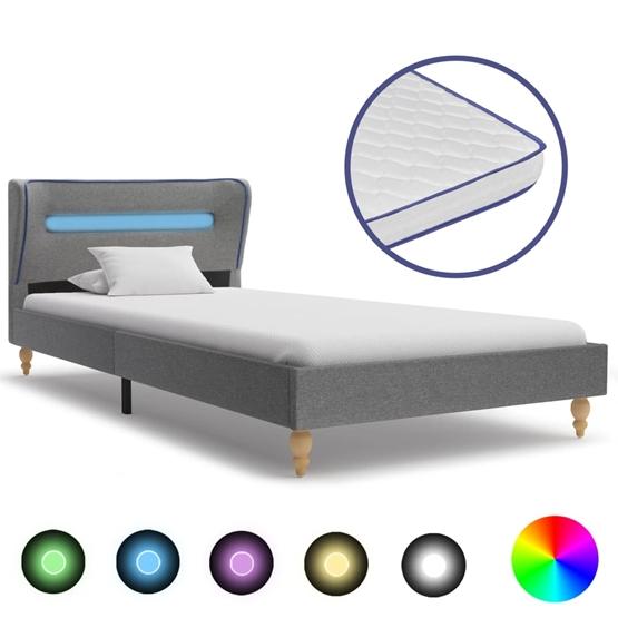 Säng Med Led Och Memoryskummadrass Ljusgrå Tyg