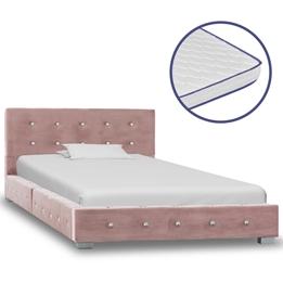 Säng Med Memoryskummadrass Rosa Sammet