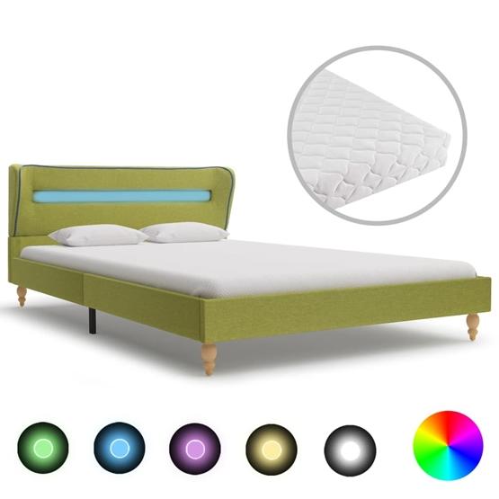 Säng Med Led Och Madrass Grön Tyg