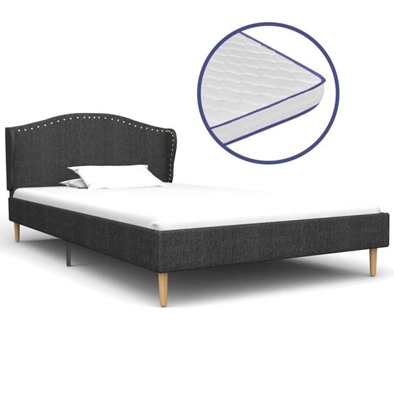Säng Med Memoryskummadrass Mörkgrå Tyg 90X200 Cm