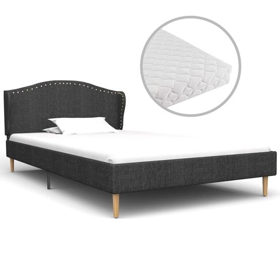 Säng Med Madrass Mörkgrå Tyg 90X200 Cm