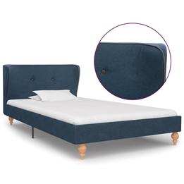 Sängram Blå Tyg Ljusa Ben