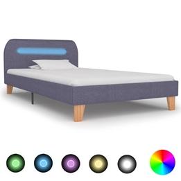 Sängram Med Led Ljusgrå Tyg