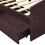 Sängram Med 2 Lådor Mörkbrun Massiv Furu 90X200 Cm