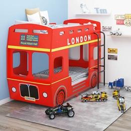 Våningssäng London Bus Röd Mdf 90X200 Cm