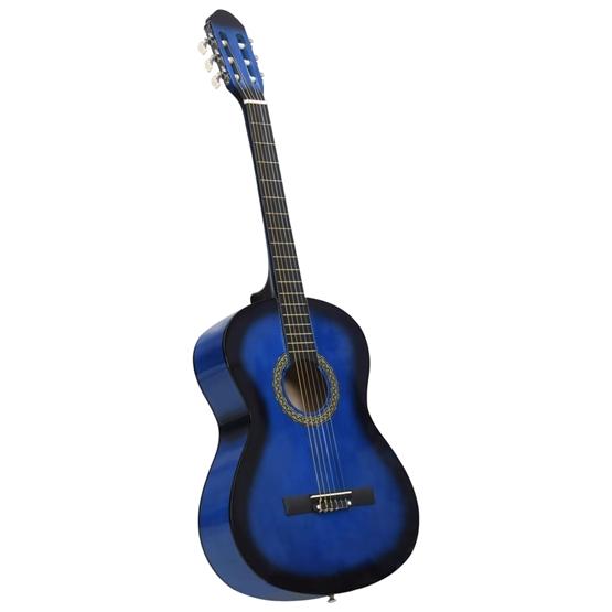 """Klassisk Gitarr För Nybörjare Blå 4/4 39"""" Amerikansk Lind"""