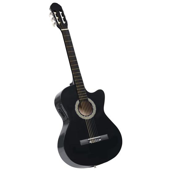 Akustisk Westerngitarr Med Cutaway Eq-Pedal Och 6 Strängar Svart