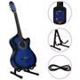 Gitarr Western 12 Delar Med Eq-Pedal Och 6 Strängar Blå
