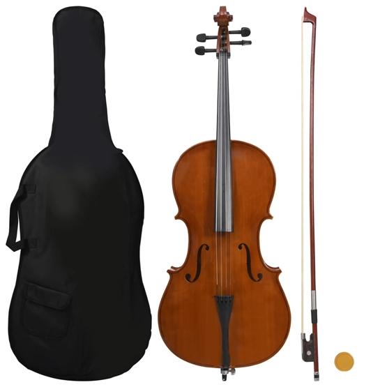 Cello Med Väska Med Stråke Av Naturligt Hår Mörkt Trä 4/4