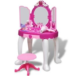 Sminkbord För Barn Med 3 Speglar Och Ljud- Och Ljuseffekter