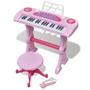 Keyboard För Barn Med Pall Och Mikrofon 37 Tangenter Rosa