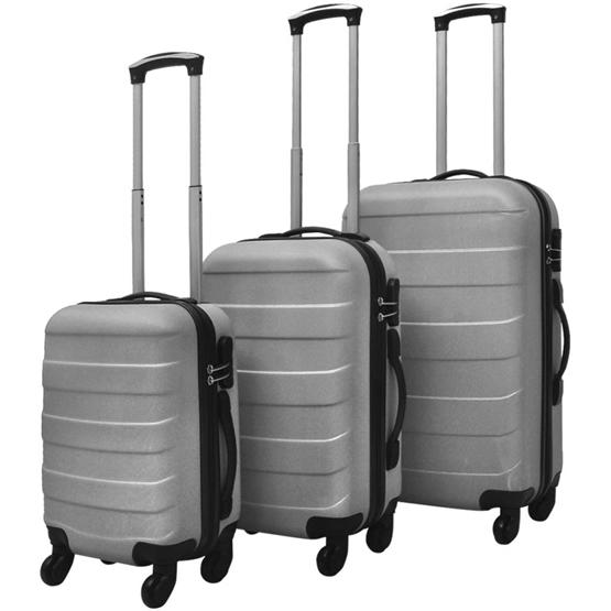 Resväskor 3 St Hårda Silver