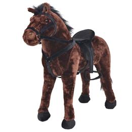 Stående Leksakshäst Plysch Mörkbrun Xxl